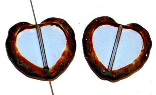 Best.Nr.:671474 Glasperlen / Table Cut Beads Herzen geschliffen,  light aqua tansp. mit picasso finish,  hergestellt in Gablonz Tschechien