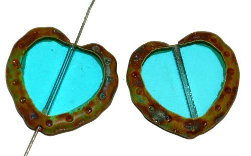 Best.Nr.:671475 Glasperlen / Table Cut Beads Herzen geschliffen,  montana transp. mit picasso finish,  hergestellt in Gablonz Tschechien