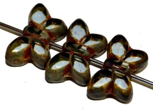 Best.Nr.:671468 Glasperlen / Table Cut Beads Schmetterlinge  geschliffen, kristall mit picasso finish,  hergestellt in Gablonz Tschechien