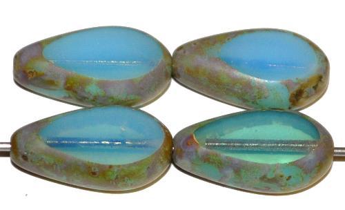 Best.Nr.:67519 Glasperlen / Table Cut Beads geschliffen, Opalglas hellblau mit picasso finish, hergestellt in Gablonz Tschechien