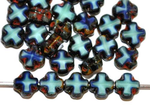 Best.Nr.:671466 Glasperlen / Table Cut Beads geschliffen  hell/dunkelblau opak mit picasso finish,  hergestellt in Gablonz / Tschechien