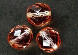 Best.Nr.:29019 facettierte Glasperlen apricot mit Silbereinzug