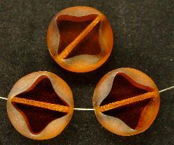 Best.Nr.:67338 Glasperlen / Table Cut Beads geschliffen topas mit lüster mattiert