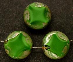 Best.Nr.:67082 Glasperlen / Table Cut Beads grün meliert geschliffen mit picasso finish