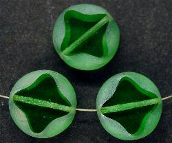 Best.Nr.:67274 Glasperlen / Table Cut Beads geschliffen grün mit lüster mattiert