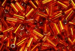 Best.Nr.:21027 Stiftperlen hergestellt von Preciosa Ornella Tschechien,  orange mit Silbereinzug