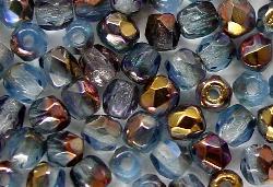 Best.Nr.:28151 facettierte Glasperlen aqua mit Metallic Veredelung