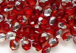 Best.Nr.:28251 facettierte Glasperlen dunkelrot mit Silber Veredelung, hergestellt in Gablonz / Tschechien
