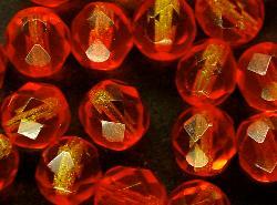 Best.Nr.:27409 facettierte Glasperlen Zweifarbenglas orange gelb