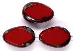 Best.Nr.:67407 Glasperlen / Table Cut Beads Tropfen geschliffen mit Travertin-Veredelung