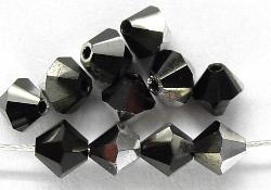 Best.Nr.:31014 mc-Schliff Glasperlen jet mit Silber-Veredelung bicon