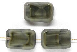 Best.Nr.:67312 Glasperlen / Table Cut Beads geschliffen Perlettglas grau meliert, hergestellt in Gablonz / Tschechien