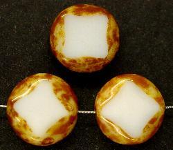 Best.Nr.:67197 Glasperlen / Table Cut Beads weiß geschliffen mit Travertin-Veredelung