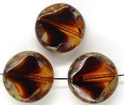 Best.Nr.:67347 Glasperlen / Table Cut Beads geschliffen mit Travertin-Veredelung zweifarbig topas