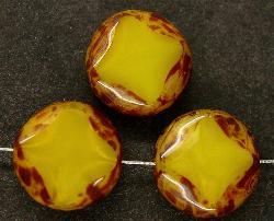 Best.Nr.:67049 Glasperlen / Table Cut Beads alabastergelb geschliffen mit Travertin-Veredelung