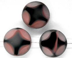 Best.Nr.:67064 Glasperlen / Table Cut Beads geschliffen rosa schwarz Rand mattiert