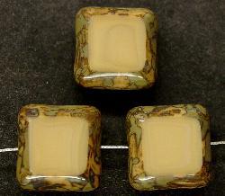 Best.Nr.:67103 Glasperlen Table Cut Beads geschliffen mit Travertin-Veredelung