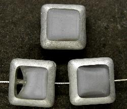 Best.Nr.:67115 Glasperlen / Table Cut Beads geschliffen silber grau