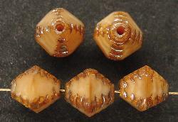 Best.Nr.:26207 geschliffene Glasperlen Multi Cut Beads braun meliert mit picasso finish