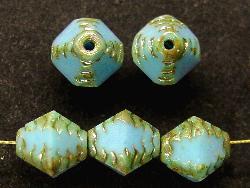 Best.Nr.:26202 geschliffene Glasperlen Multi Cut Beads türkisblau mit picasso finish