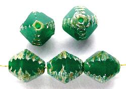 Best.Nr.:27413 geschliffene Glasperlen Multi Cut Beads alabaster grün mit picasso finish
