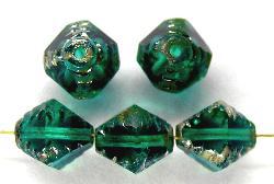 Best.Nr.:27440 geschliffene Glasperlen Multi Cut Beads smaragdgrün mit picasso finish