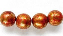 Best.Nr.:58031 Glasperlen mit Wachsüberzug  metallic rotbraun gesprenkelt, hergestellt in Gablonz / Tschechien