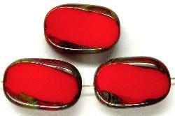 Best.Nr.:67428 Glasperlen / Table Cut Beads Olive geschliffen rot mit Travertin-Veredelung