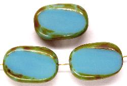 Best.Nr.:67433 Glasperlen / Table Cut Beads Olive geschliffen hellblau mit Travertin-Veredelung