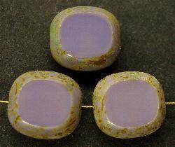 Best.Nr.:67443 Glasperlen / Table Cut Beads Olive geschliffen violett mit Travertin-Veredelung