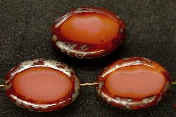 Best.Nr.:67425 Glasperlen / Table Cut Beads geschliffen rosa mit Travertin-Veredelung