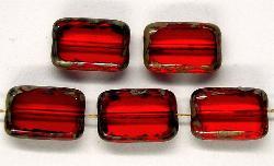Best.Nr.:67427 Glasperlen / Table Cut Beads rote Rechtecke geschliffen, mit Travertin-Veredelung