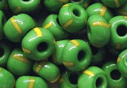 Best.Nr.:13053 Rocailles von Ornella Preciosa Tschechien, grün gelb gestreift