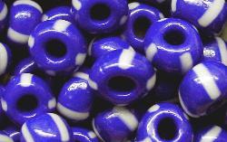 Best.Nr.:13054 Rocailles von Ornella Preciosa Tschechien, blau weiß gestreift