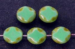 Best.Nr.:67446 Glasperlen / Table Cut Beads geschliffen mit Travertin-Veredelung