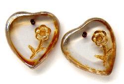 Best.Nr.:65003 Glasperlen / Table Cut Beads Herzen geschliffen mit eingeprägter Blume mit picasso finish, hergestellt in Gablonz / Tschechien