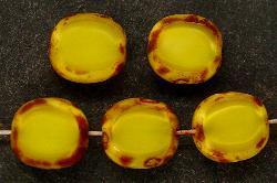 Best.Nr.:67447 Glasperlen / Table Cut Beads Olive geschliffen mit picasso finish