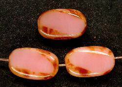 Best.Nr.:67614 Glasperlen / Table Cut Beads Olive geschliffen altrosa opak mit picasso finish,