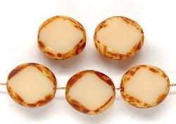 Best.Nr.:67463 Glasperlen / Table Cut Beads geschliffen mit Travertin-Veredelung