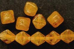 Best.Nr.:54031 Glasperlen Doppelpyramide vierkantig honiggelb meliert