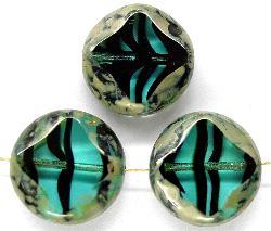 Best.Nr.:67408 Glasperlen / Table Cut Beads türkis / schwarz gestreift geschliffen mit picasso finish