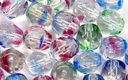 Best.Nr.:27068 facettierte Glasperlen kristall / bunt gestreift, hergestellt in Gablonz / Tschechien