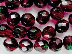 Best.Nr.:27116 facettierte Glasperlen Zweifarbenglas fuchsia grün