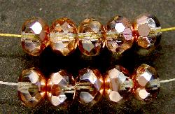 Best.Nr.:28067 facettierte Glasperlen Linsen mit metallic Kupfer Veredelung