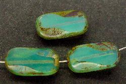 Best.Nr.:67487 Glasperlen / Table Cut Beads Opalglas geschliffen, mit Travertin-Veredelung