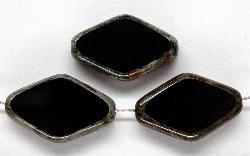 Best.Nr.:67023  Glasperlen / Table Cut Beads  geschliffen, Hergestellt in Gablonz / Böhmen, schwarz mit picasso finish
