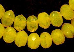 Best.Nr.:26285 Glasperlen Linse gelb meliert und facettiertem Rand