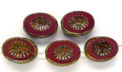 Best.Nr.:67505 Glasperlen / Table Cut Beads geschliffen mit Travertin-Veredelung, nach alten Vorlagen aus den 1920 Jahren neu gefertigt