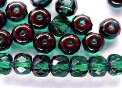Best.Nr.:28308 facettierte Glasperlen Linsen smaragdgrün, bronziert
