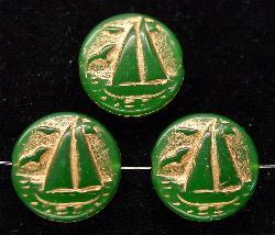 Best.Nr.:59054 Vintagestyle Glasperlen grün opak mit Goldauflage, nach alten Vorlagen aus den 1940/50 Jahren neu gefertigt in Gablonz / Tschechien
